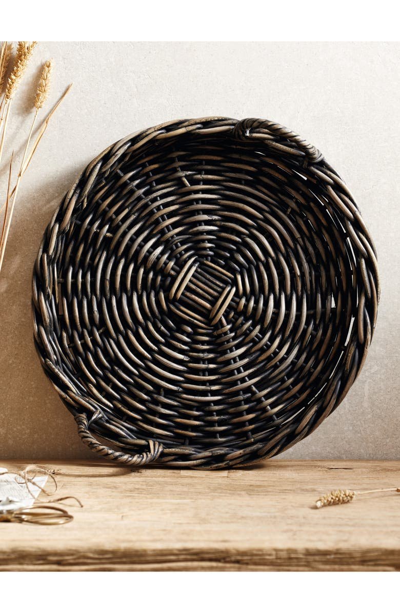 THE WHITE COMPANY Round Kubu Rattan Tray, Main, color, BLACK