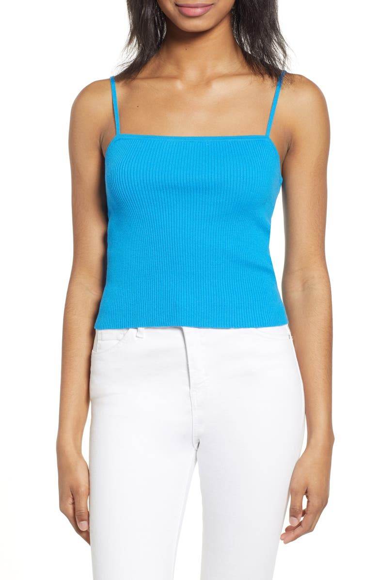 BP. Straight Up Ribbed Tank Top, Main, color, BLUE ASTER