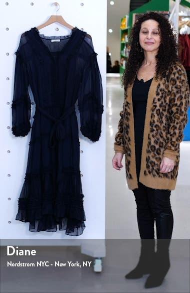 Althea Ruffle Long Sleeve Silk Habutai Dress, sales video thumbnail