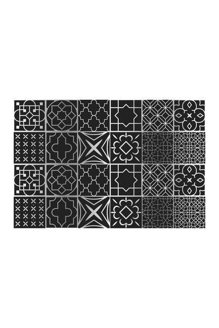 Image of WalPlus Arabic Black and Silver Wall Tile Sticker 24-Piece Set