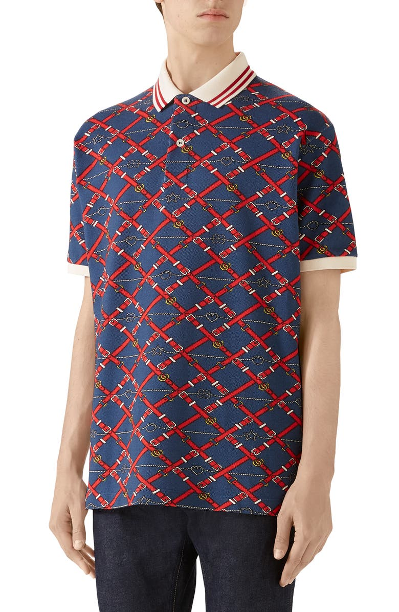 GUCCI Belt Chess Print Short Sleeve Piqué Polo, Main, color, NAVY/LIVE RED/MC
