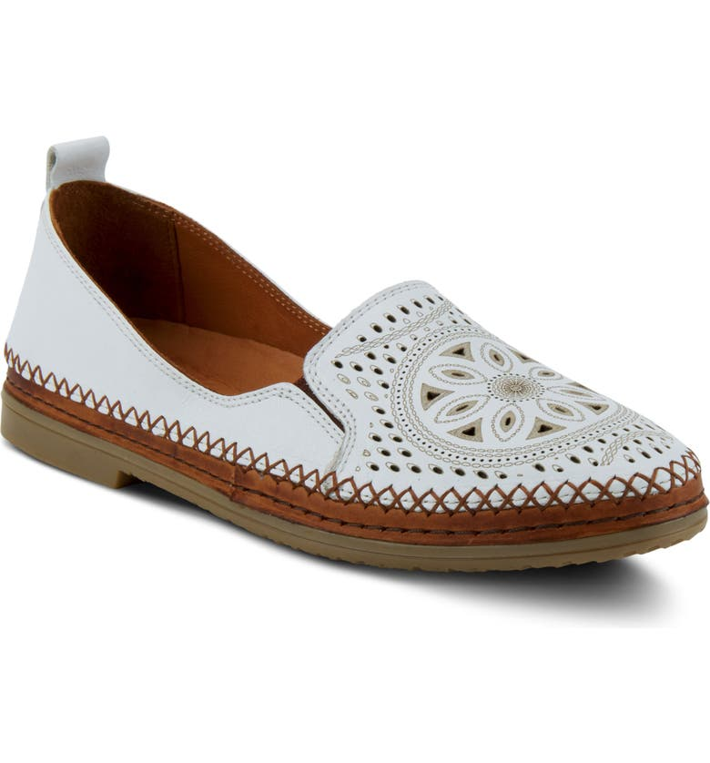 SPRING STEP Ingrid Flat, Main, color, WHITE LEATHER