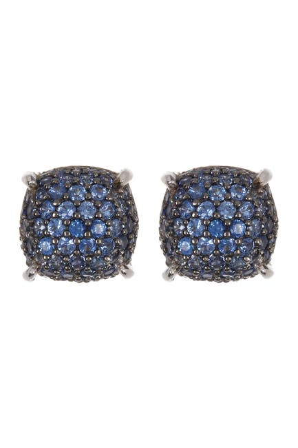 Image of Suzy Levian Sterling Silver Pave Sapphire Stud Earrings