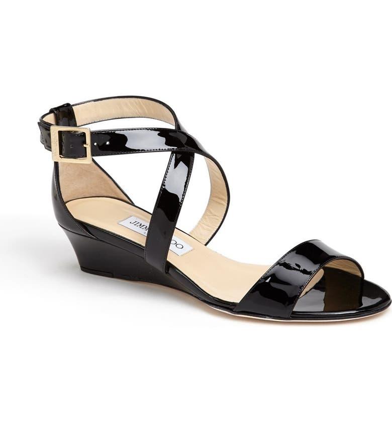 JIMMY CHOO 'Chiara' Strap Wedge Sandal, Main, color, 001