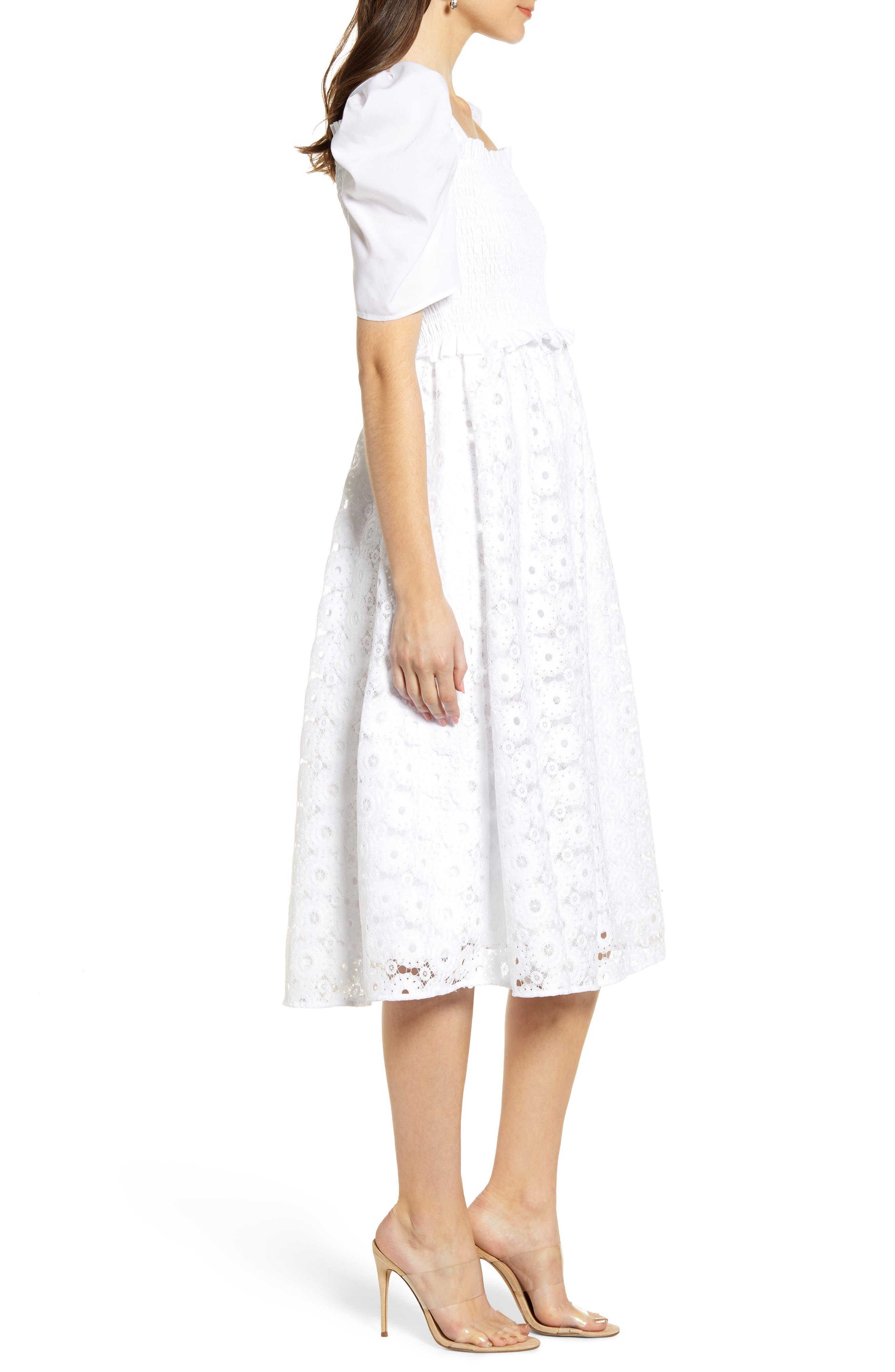 ,                             Smocked Waist A-Line Dress,                             Alternate thumbnail 4, color,                             WHITE