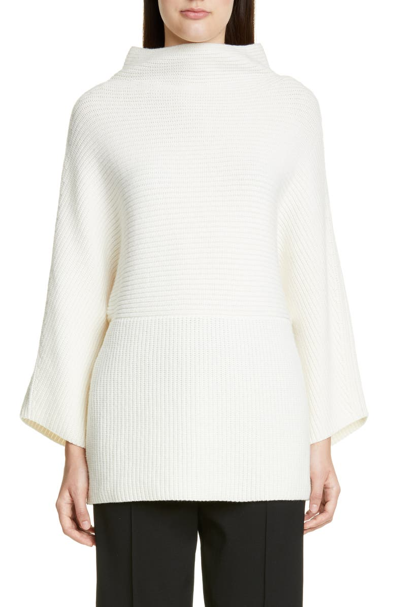 ST. JOHN COLLECTION Luxe Cashmere Rib Sweater, Main, color, CREAM