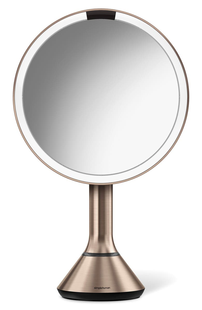 SIMPLEHUMAN Eight Inch Sensor Makeup Mirror with Brightness Control, Main, color, ROSE GOLD