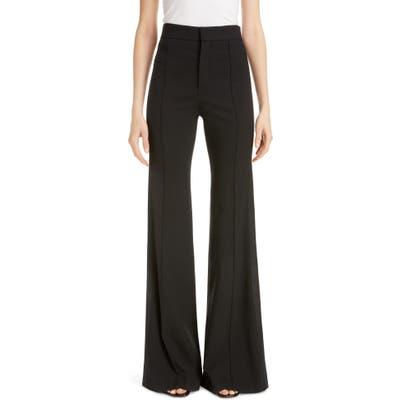 Chloe Side Stripe Pintucked Stretch Wool Flare Pants, US / 44 FR - Black