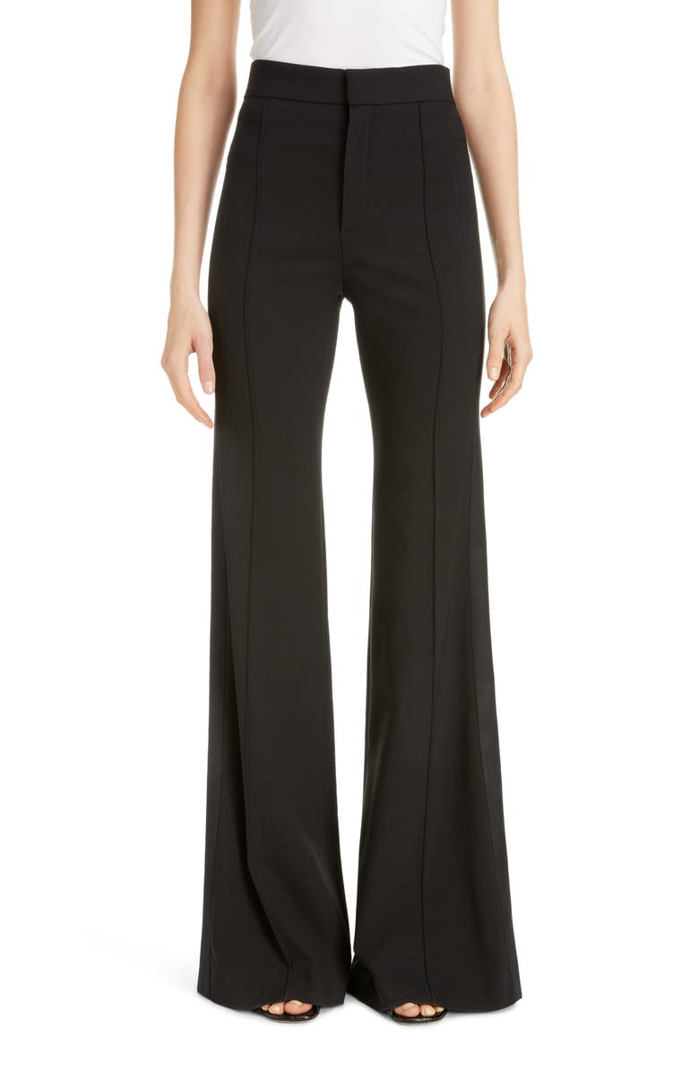 CHLOÉ Side Stripe Pintucked Stretch Wool Flare Pants, Main, color, BLACK