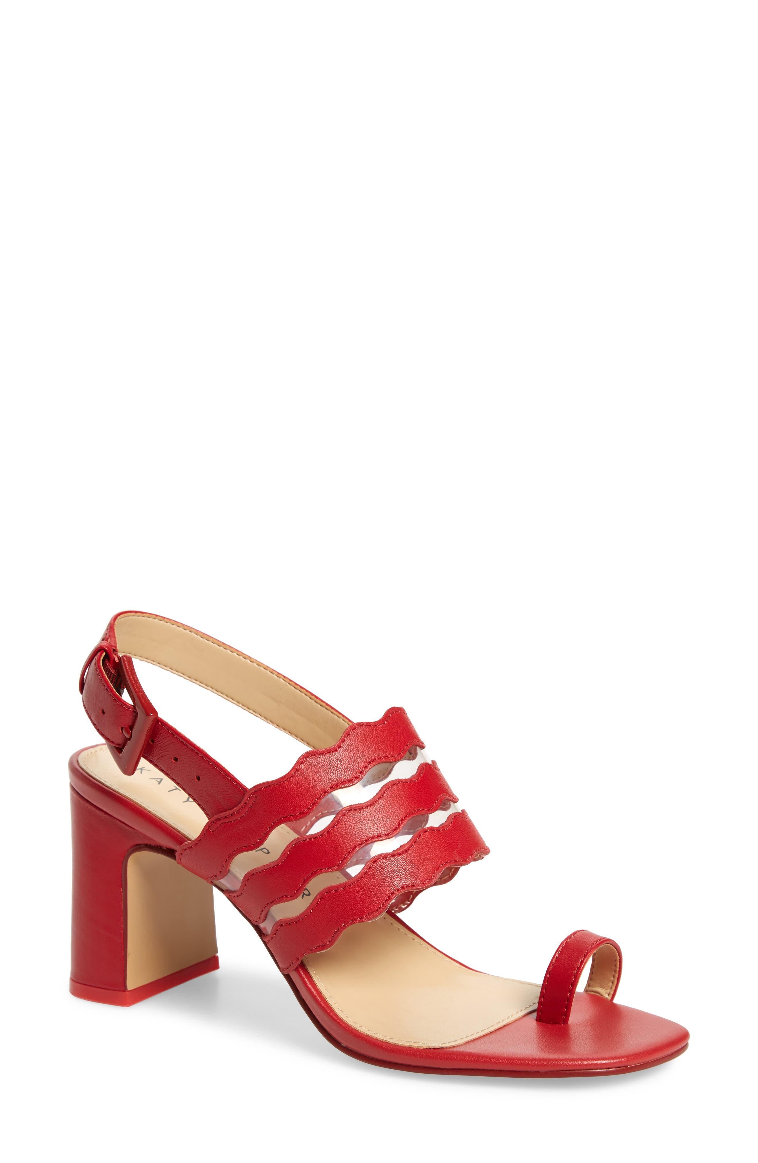 women's katy perry sense toe loop slingback sandal, size 6 m - red