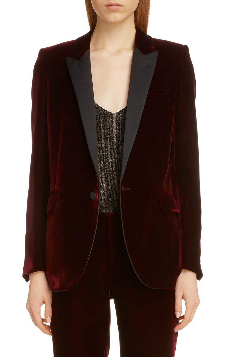 SAINT LAURENT One-Button Velvet Jacket, Main, color, BORDEAUX