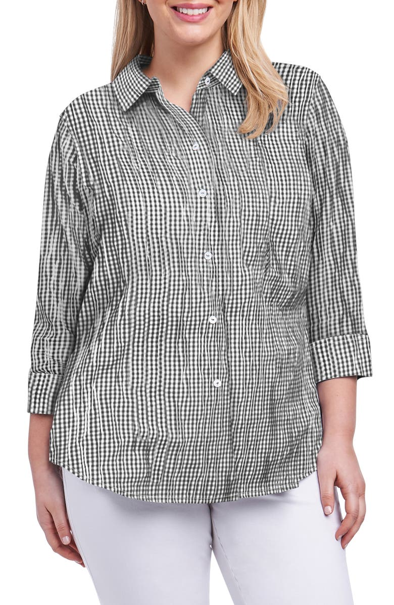 FOXCROFT Sue Crinkle Mixed Gingham Shirt, Main, color, BLACK