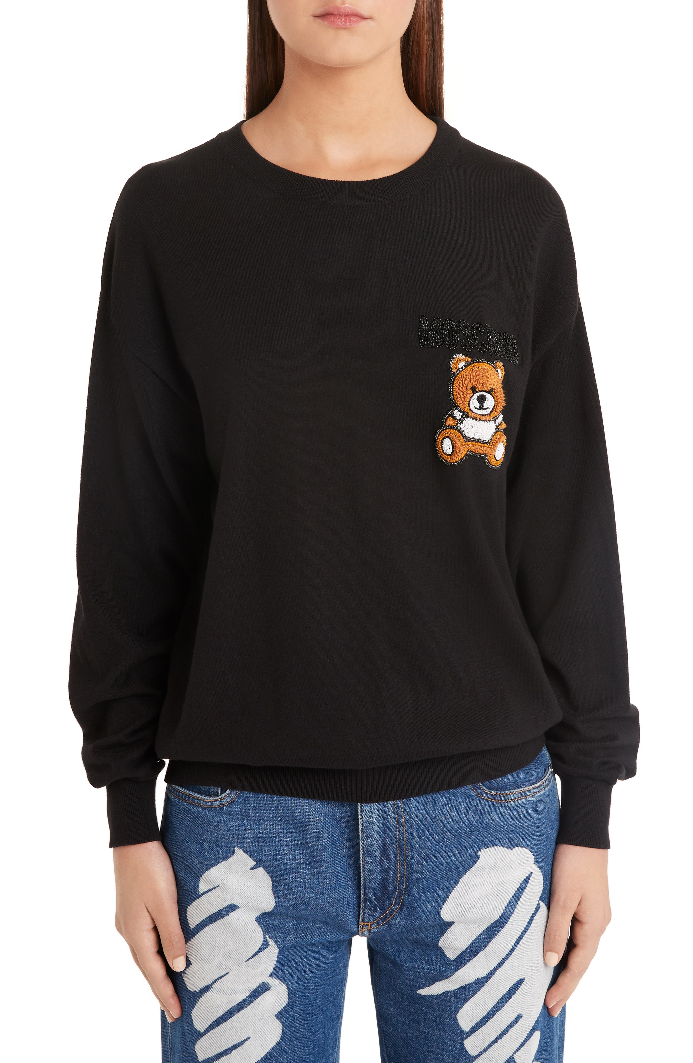 ,                             Embellished Teddy Sweater,                             Main thumbnail 1, color,                             BLACK