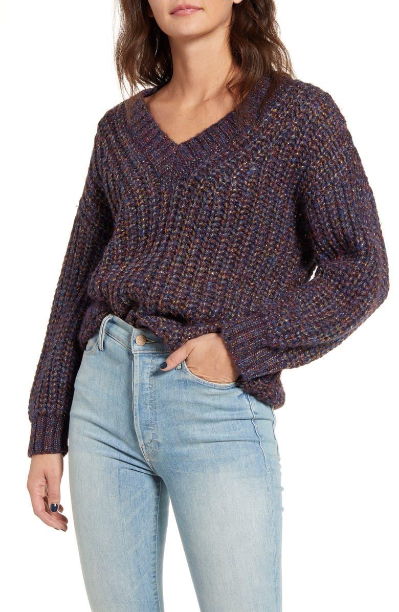 COTTON EMPORIUM Metallic Shaker Stitch Sweater, Main, color, PURPLE MULTI