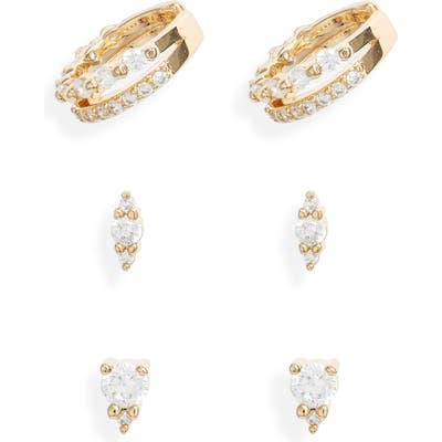 Nordstrom Set Of 3 Cubic Zirconia Ear Cuffs & Stud Earrings