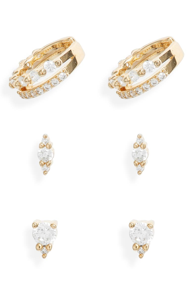 NORDSTROM Set of 3 Cubic Zirconia Ear Cuffs & Stud Earrings, Main, color, CLEAR- GOLD