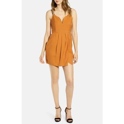 J.o.a. Contrast Strap V-Neck Minidress, Brown