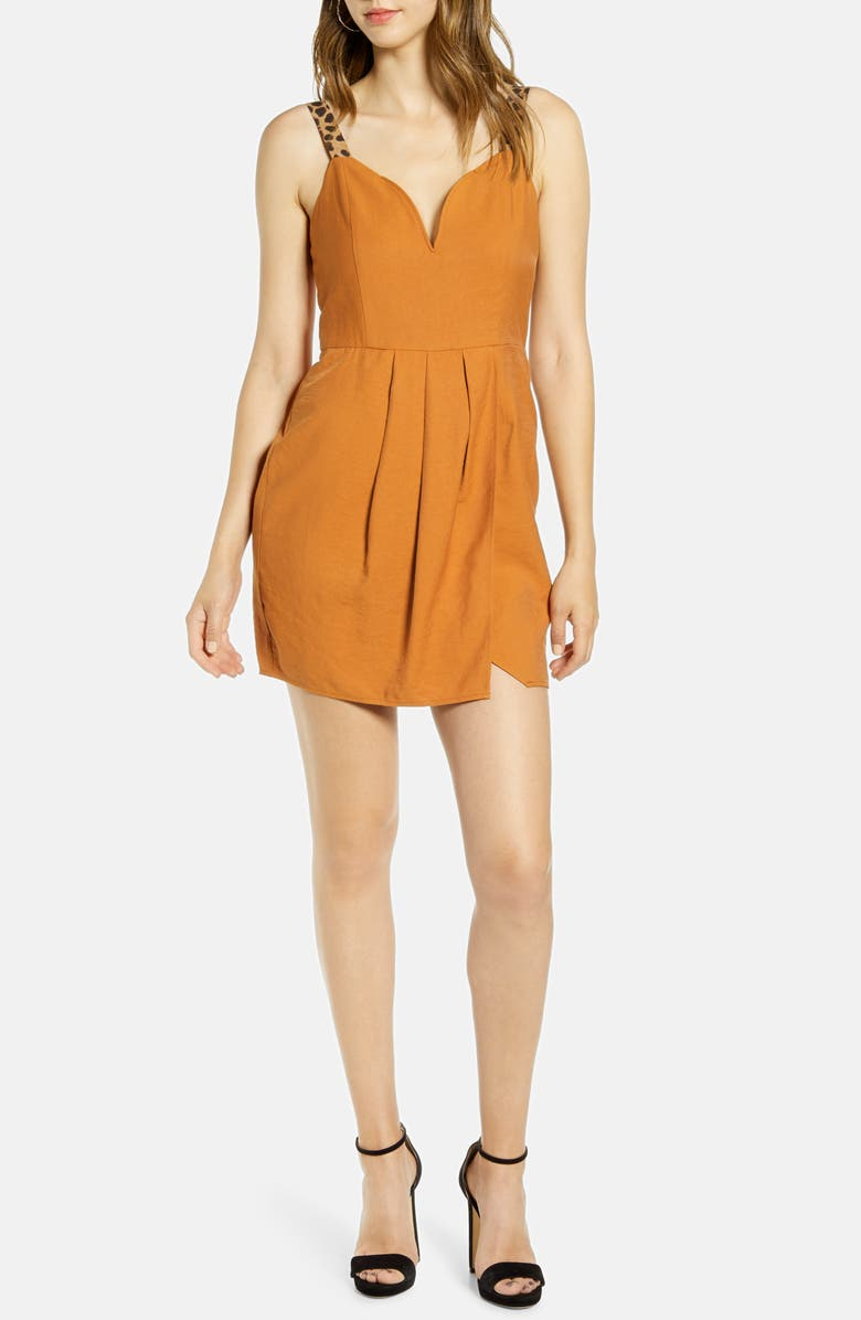 J.O.A. Contrast Strap V-Neck Minidress, Main, color, BRONZE