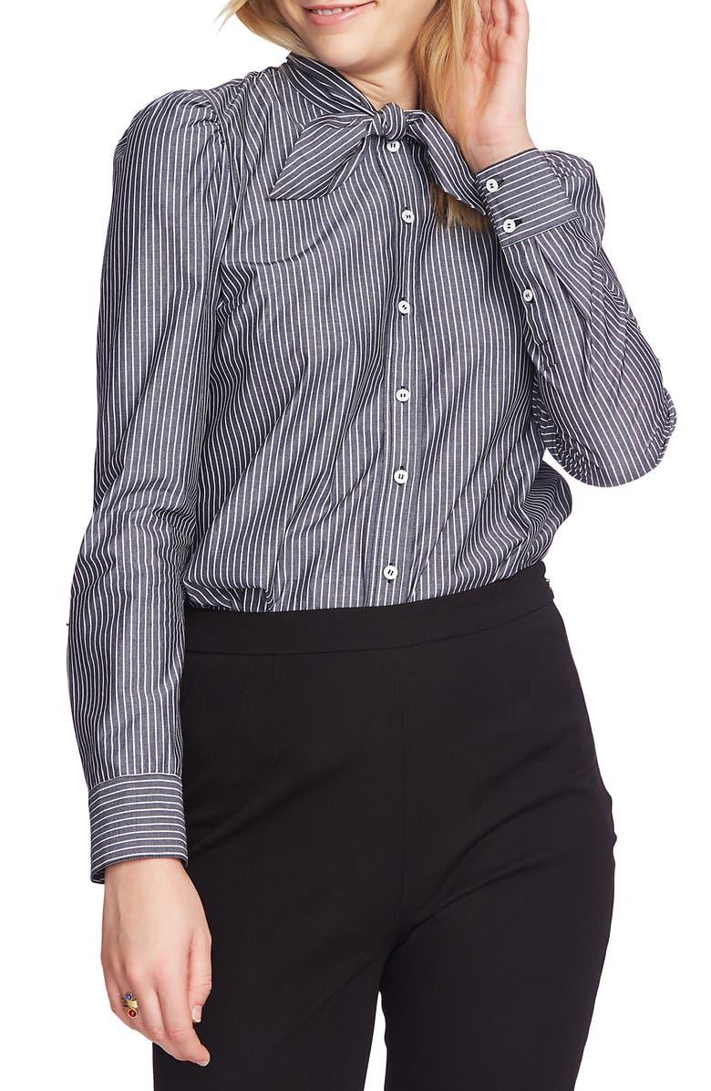 COURT & ROWE Preppy Tie Neck Shirt, Main, color, BLUE NIGHT