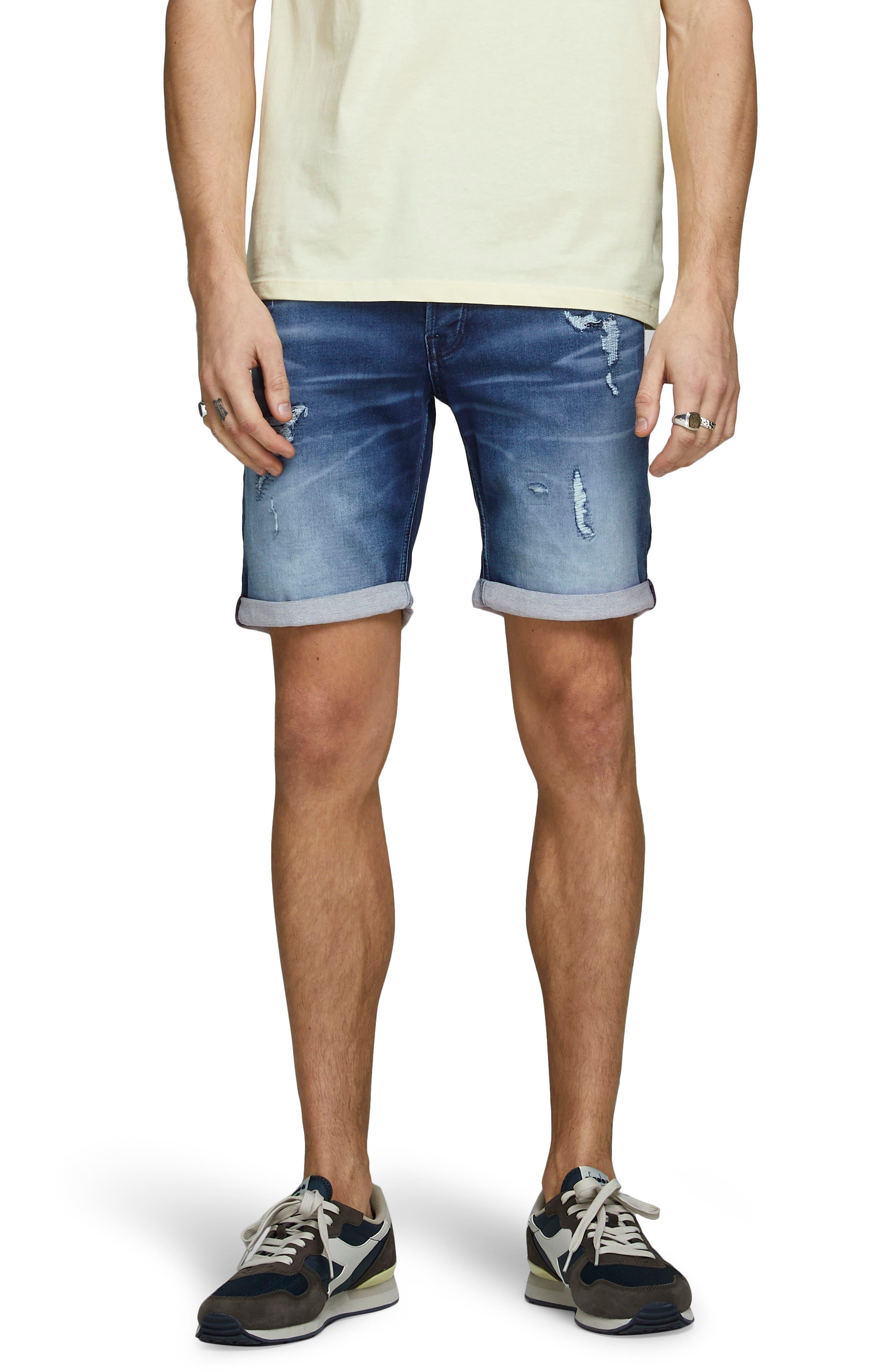 Rick Icon Ge 007 Rip & Repair Knit Denim Shorts