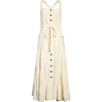 Free People Catch The Breeze Button Front Dress, Ivory