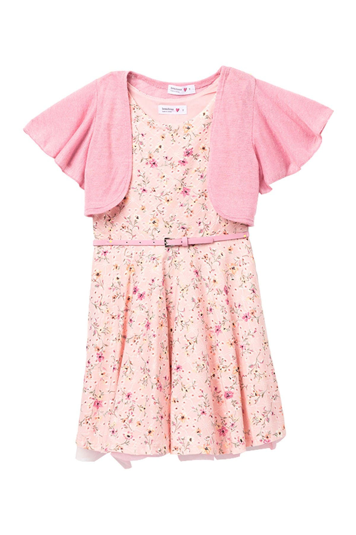 Image of Beautees Ruffle Shrug & Floral Skater Dress