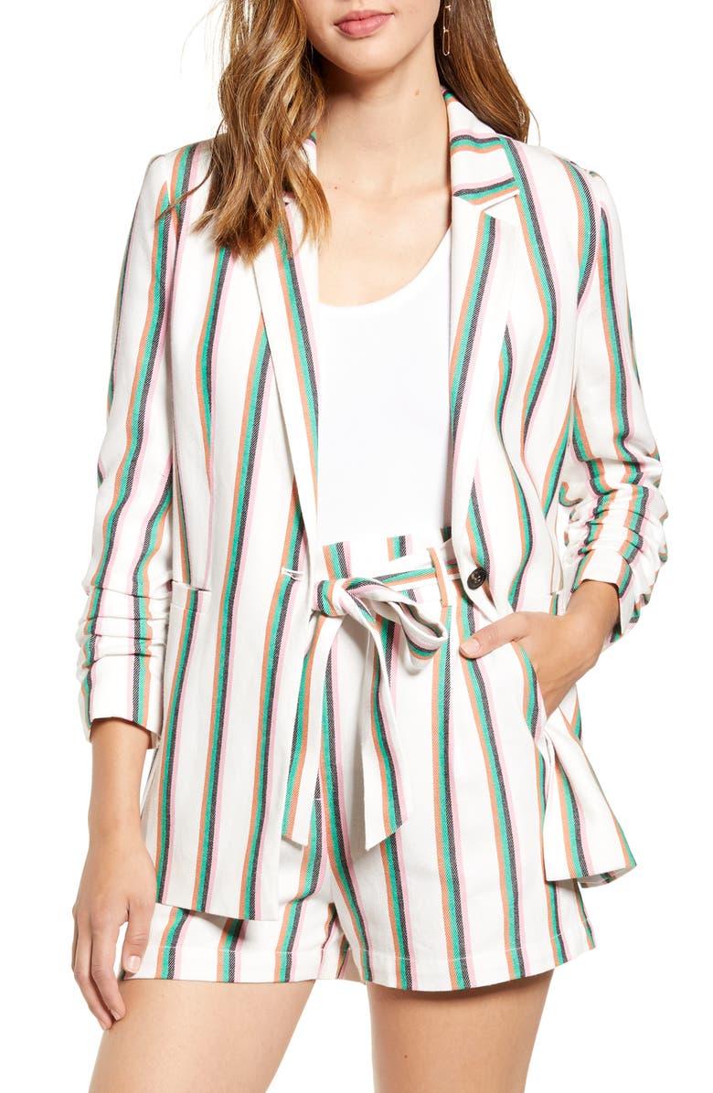 HALOGEN<SUP>®</SUP> Stripe Ruched Sleeve Cotton Blend Blazer, Main, color, 100