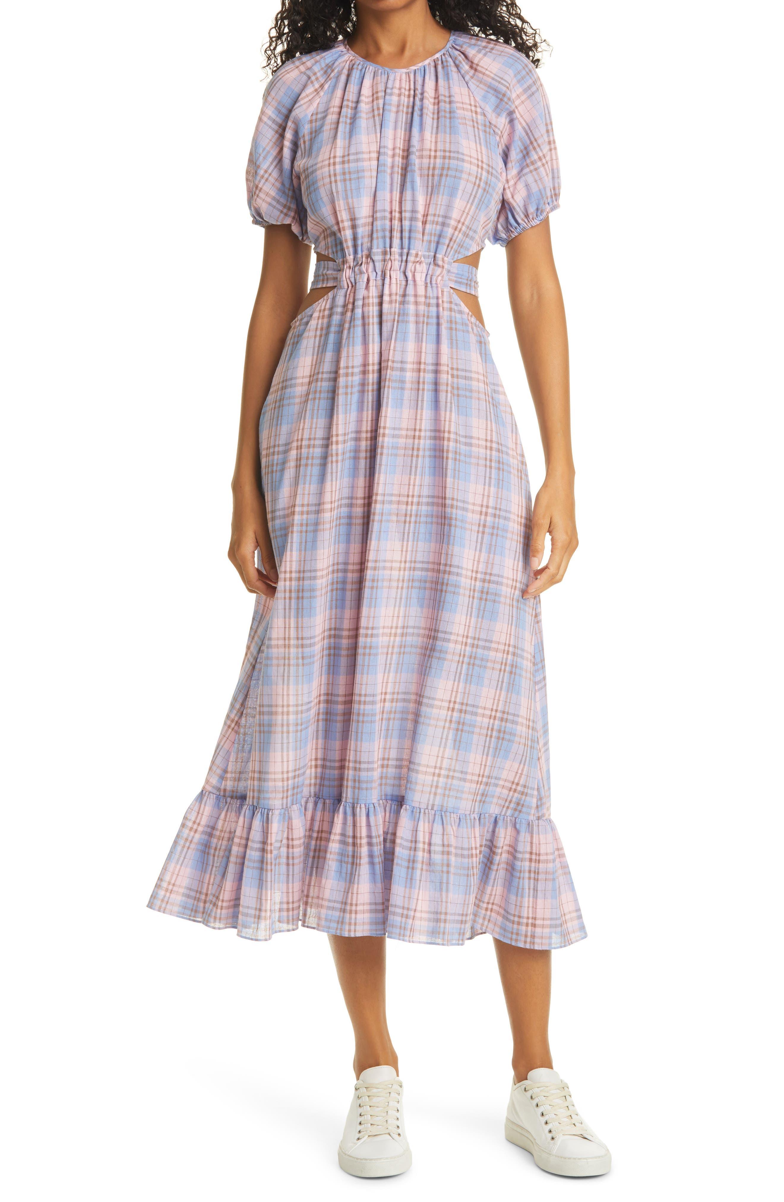 Payson Side Cutout Plaid Midi Dress