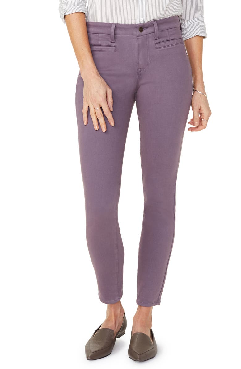 NYDJ Ami Welt Pocket Colored Skinny Jeans, Main, color, AMETHYST