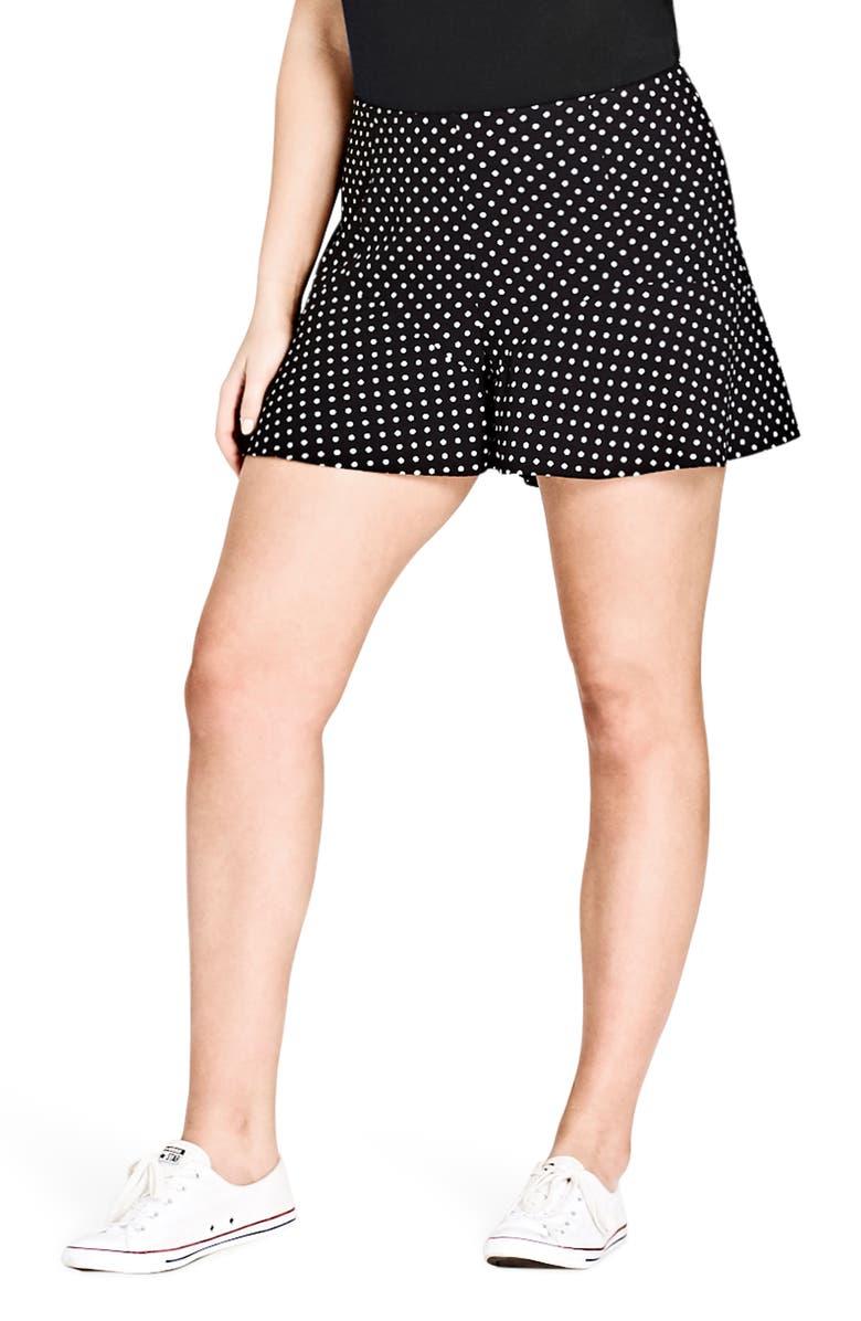 CITY CHIC Fantasy Layer Shorts, Main, color, 001