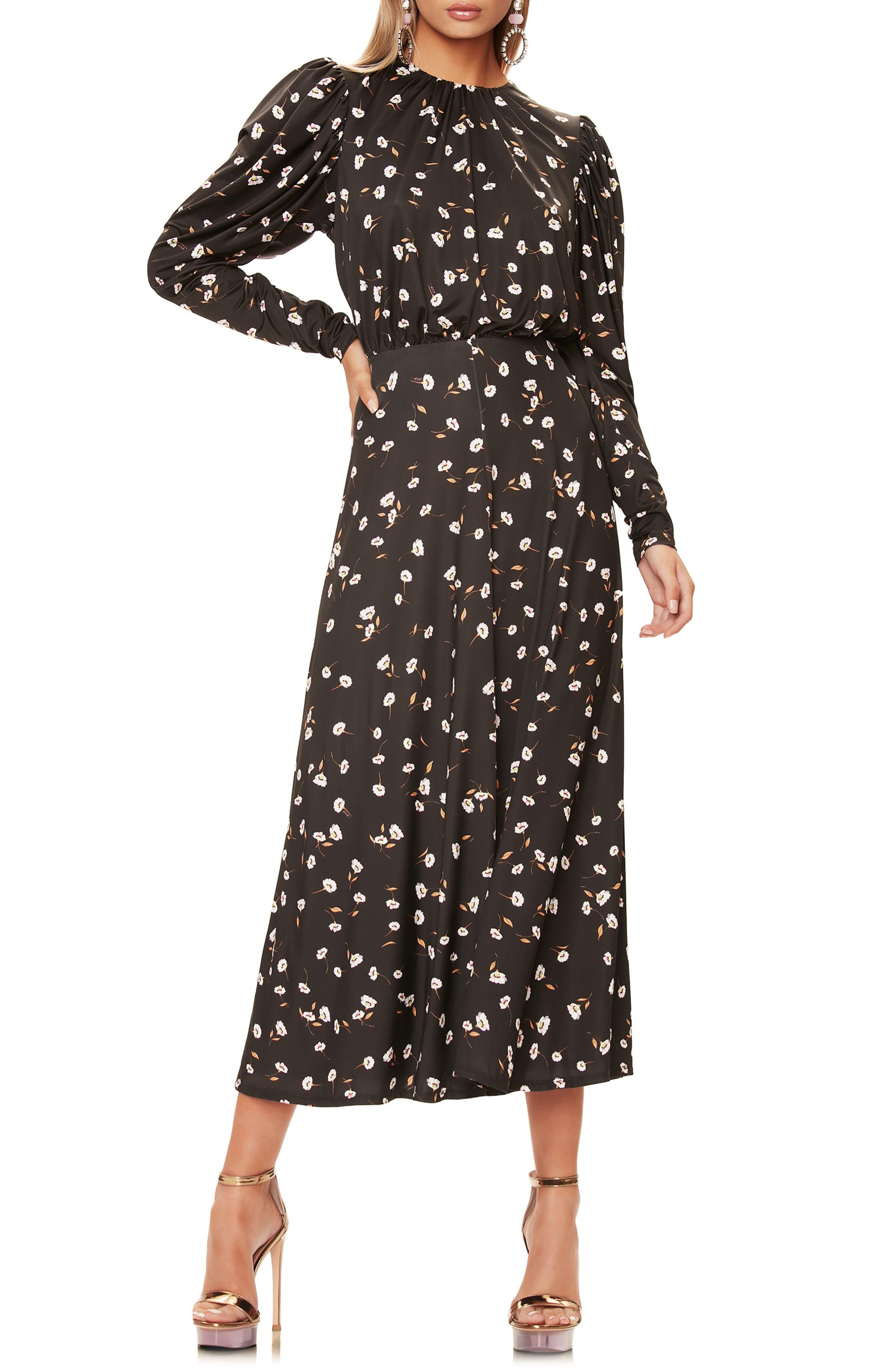 Zane Open Back Long Sleeve Midi Dress