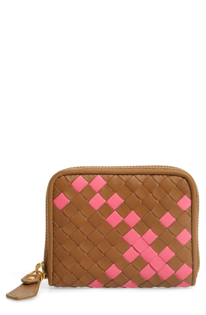 BOTTEGA VENETA Small Intrecciato Woven Leather Zip Card Case, Main, color, CAMMELLO-NEON