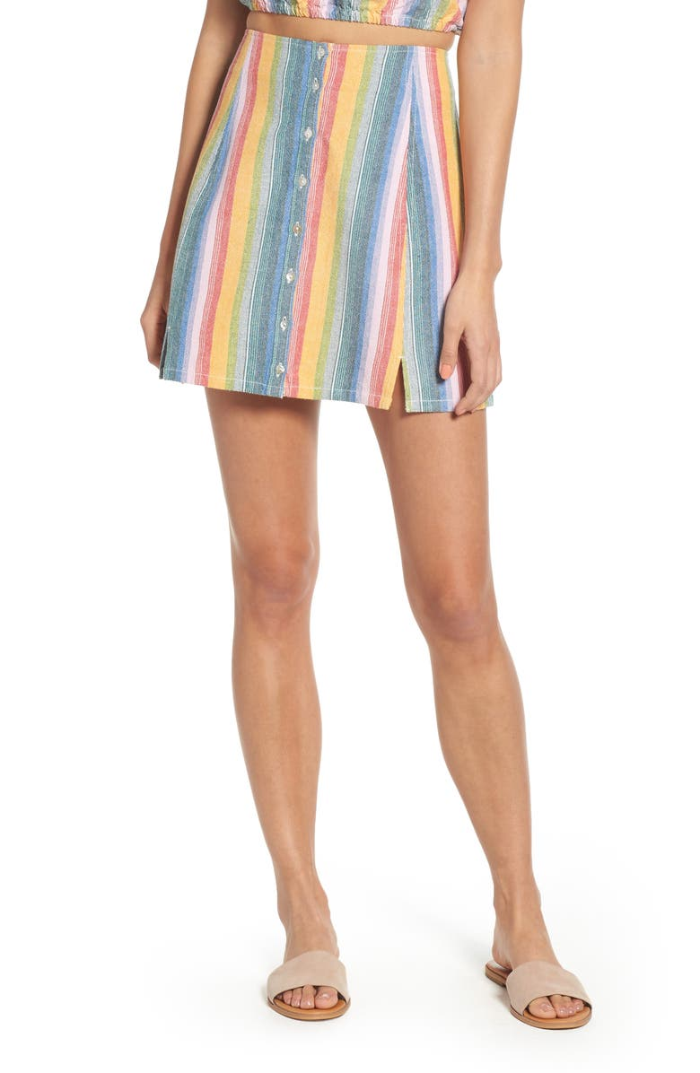 OBEY Carmen Stripe Cotton Skirt, Main, color, 300