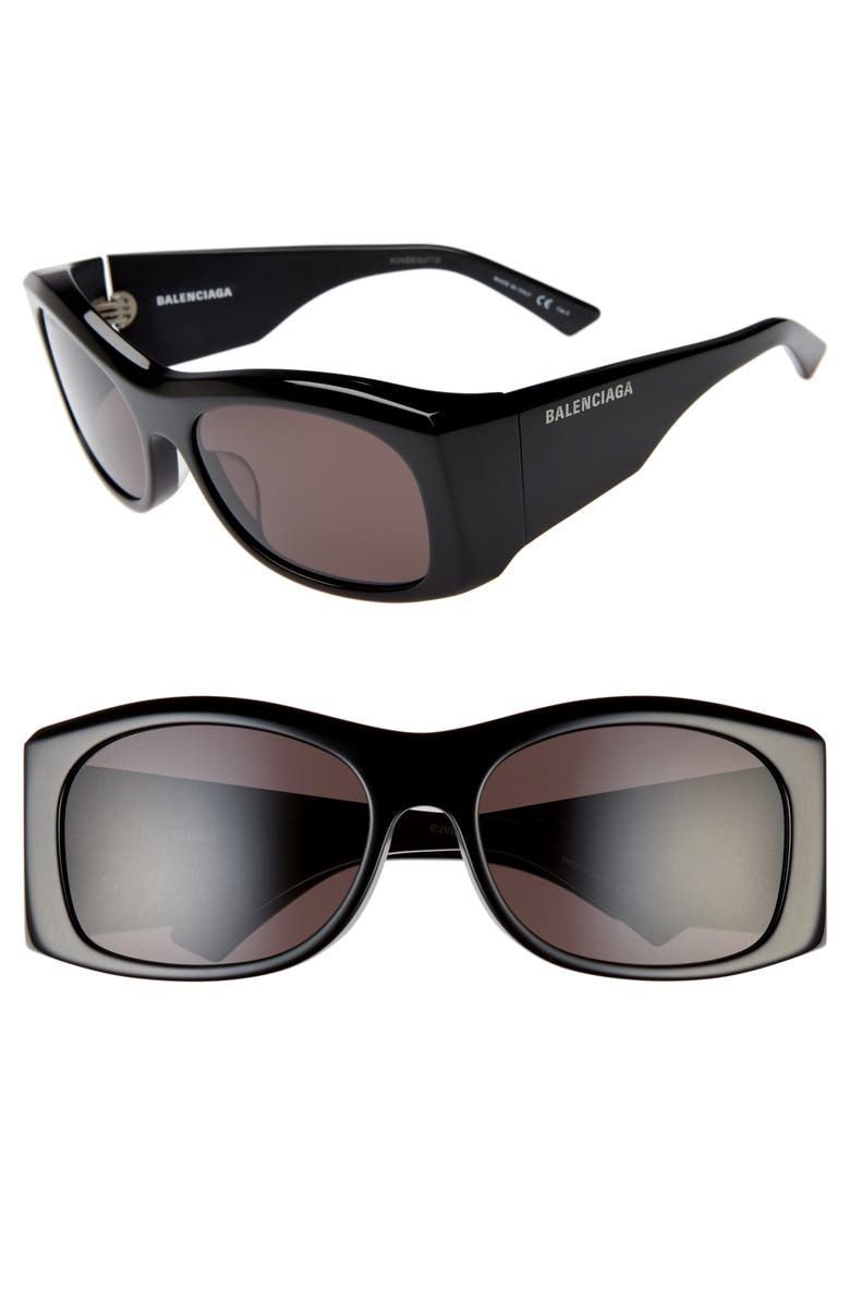 BALENCIAGA 59mm Rectangular Sunglasses, Main, color, 004