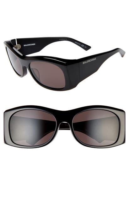 Balenciaga 59Mm Rectangular Sunglasses - Shiny Black/ Grey