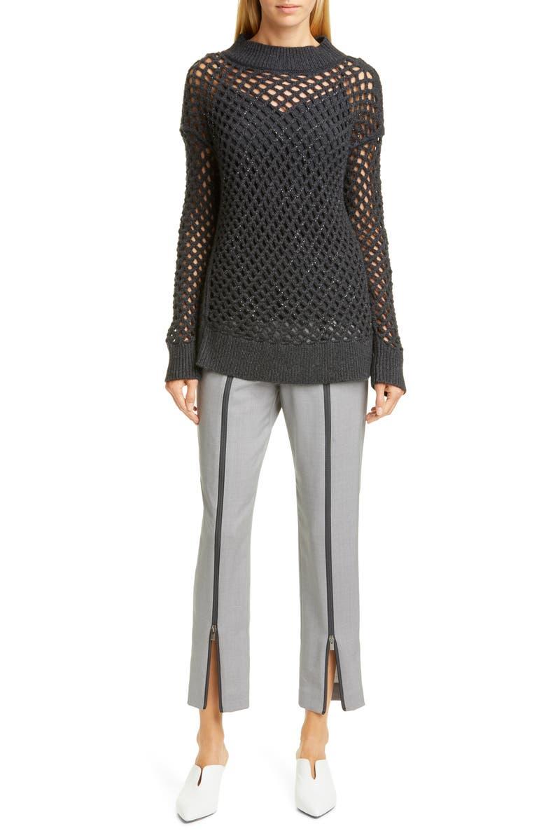 FABIANA FILIPPI Zip Front Wool Pants, Main, color, 020