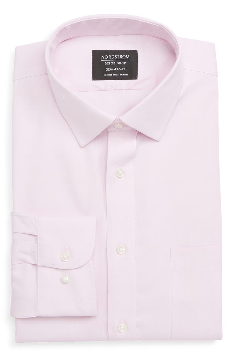 NORDSTROM MEN'S SHOP Smartcare<sup>™</sup> Trim Fit Solid Dress Shirt, Main, color, PINK