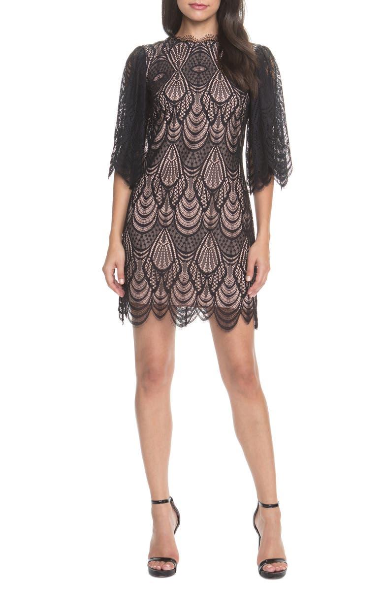 DRESS THE POPULATION Toni Lace Angel Sleeve Sheath Dress, Main, color, BLACK