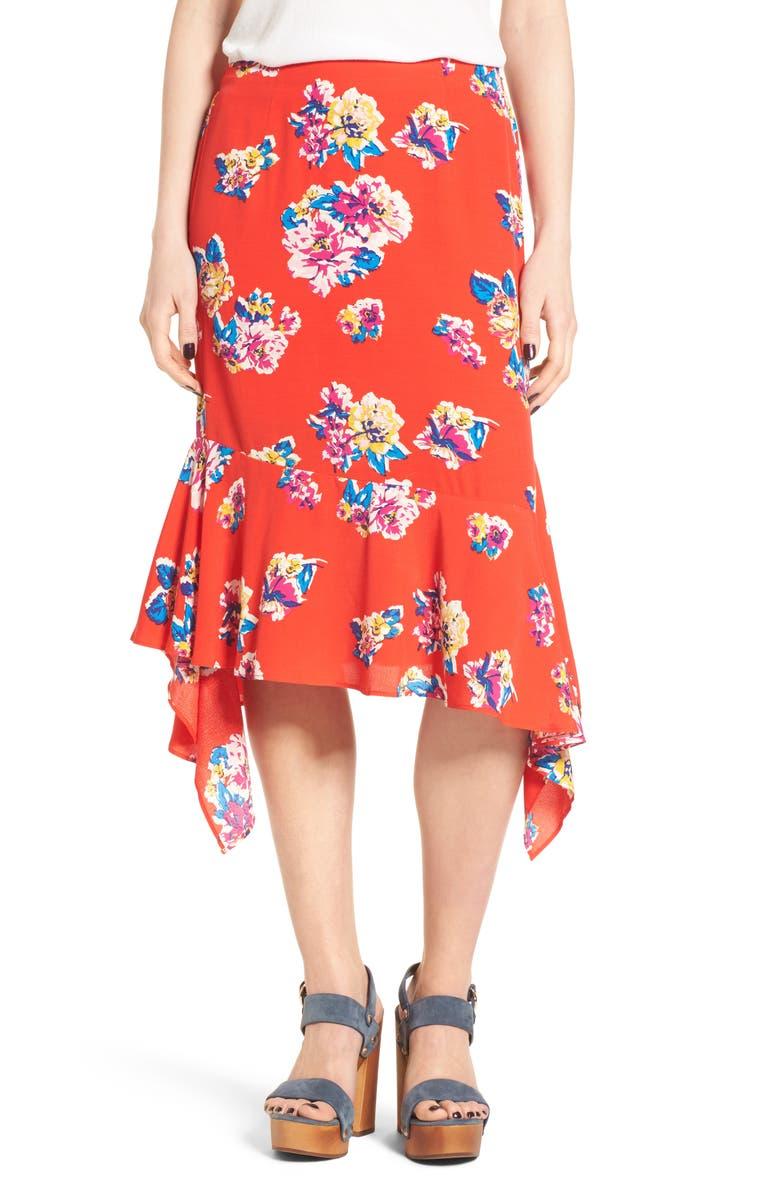 BP. Floral Ruffle Hem Skirt, Main, color, 610
