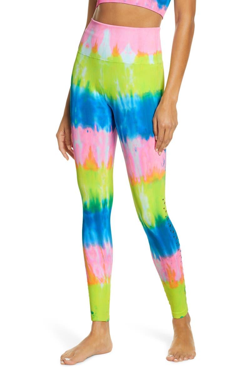 SPIRITUAL GANGSTER Self Love Leggings, Main, color, HIGHLIGHTER TIE DYE