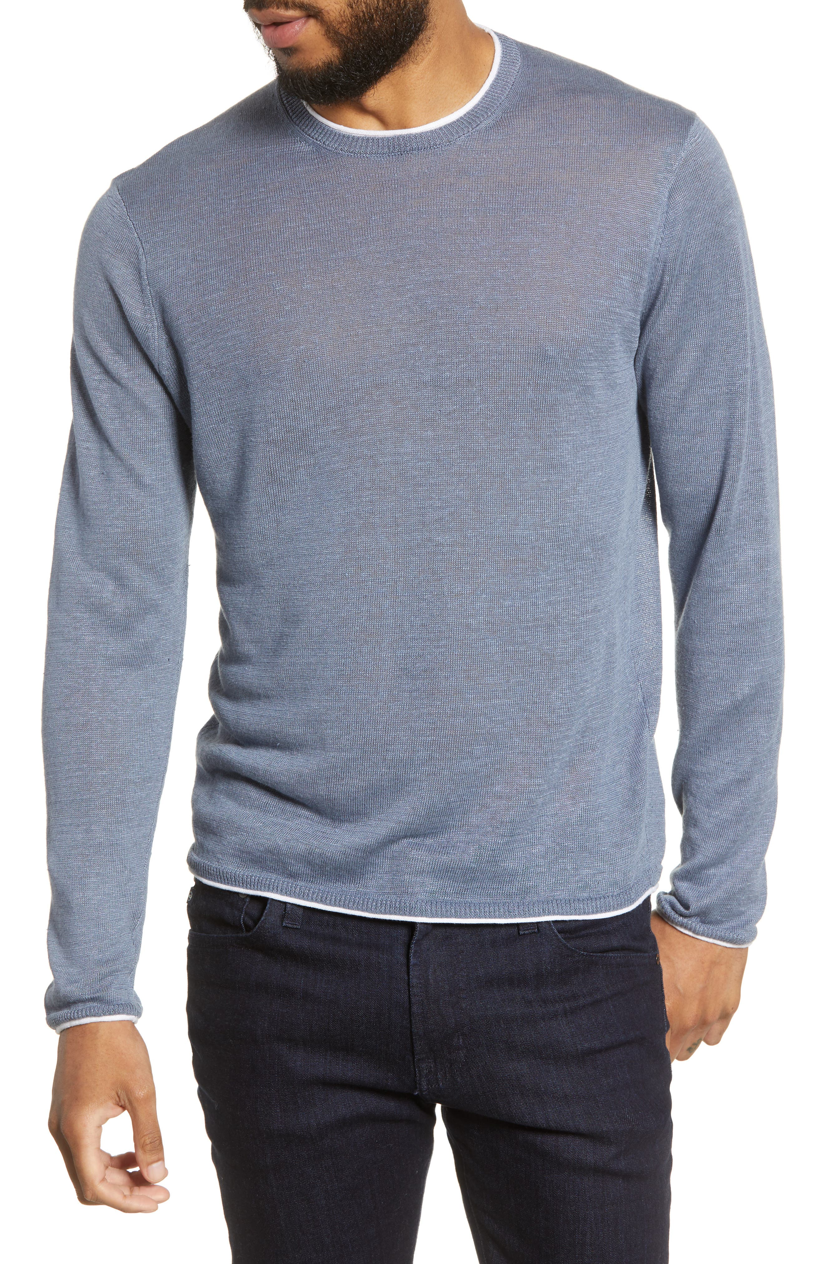 Club Monaco Regular Fit Linen Sweater, Blue