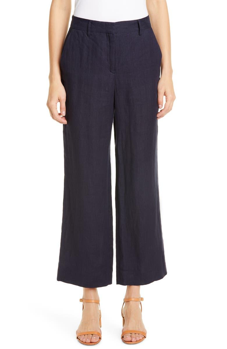 MANSUR GAVRIEL Linen Straight Leg Ankle Pants, Main, color, BLUE