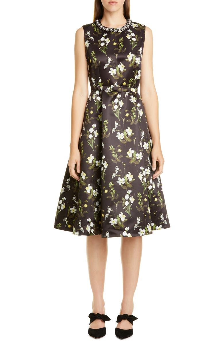 ERDEM Daffodil Print Mikado A-Line Dress, Main, color, 001