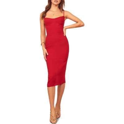 Reformation Isabel Sheath Dress, Red