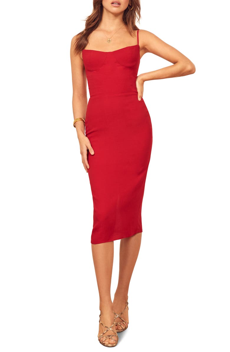 REFORMATION Isabel Sheath Dress, Main, color, CHERRY