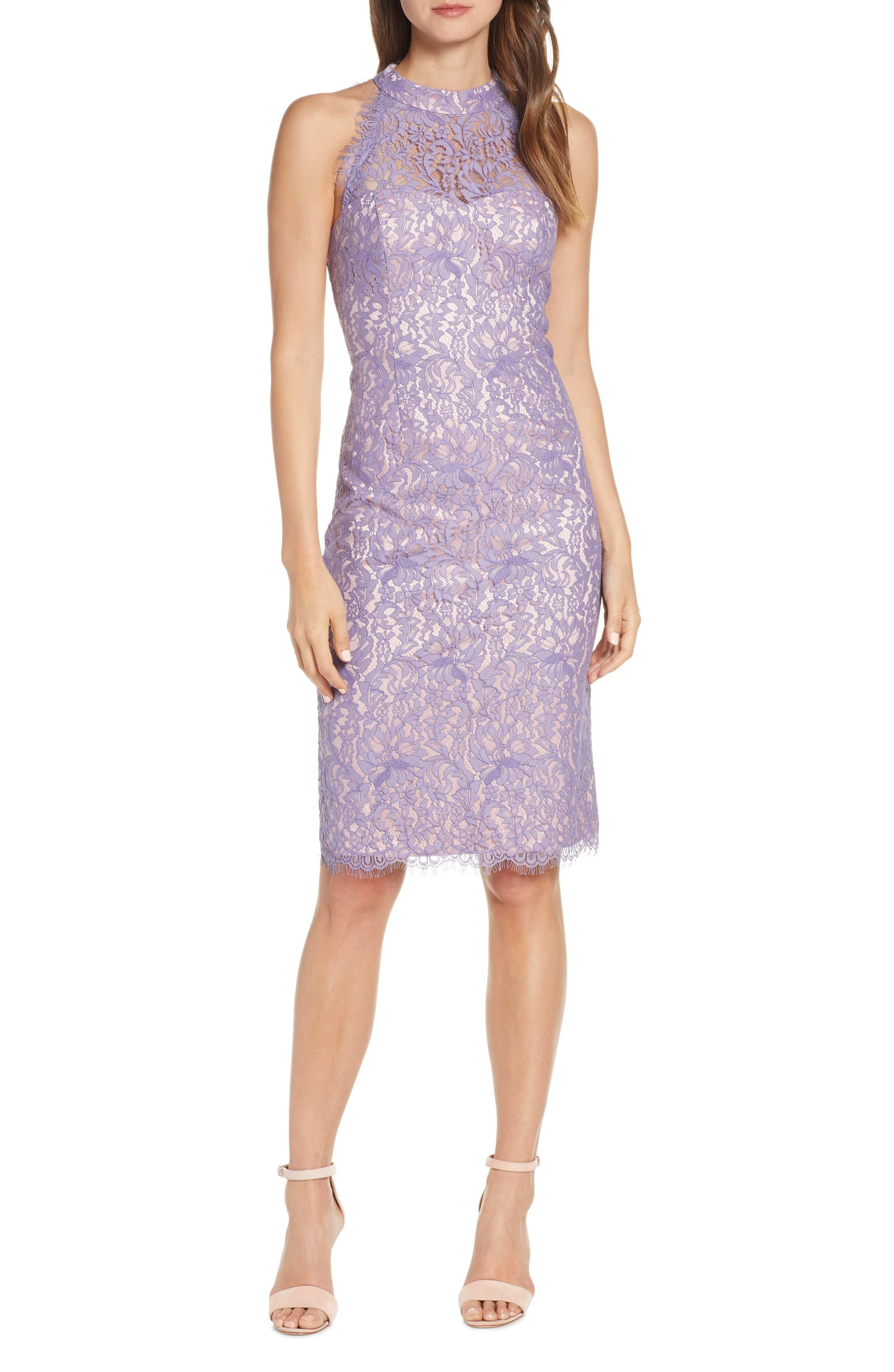 Petite Eliza J Lace Halter Neck Sheath Dress, Purple