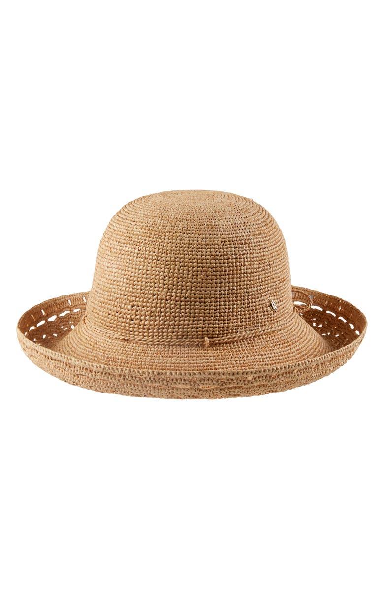HELEN KAMINSKI Martine Packable Upturn Raffia Hat, Main, color, NOUGAT