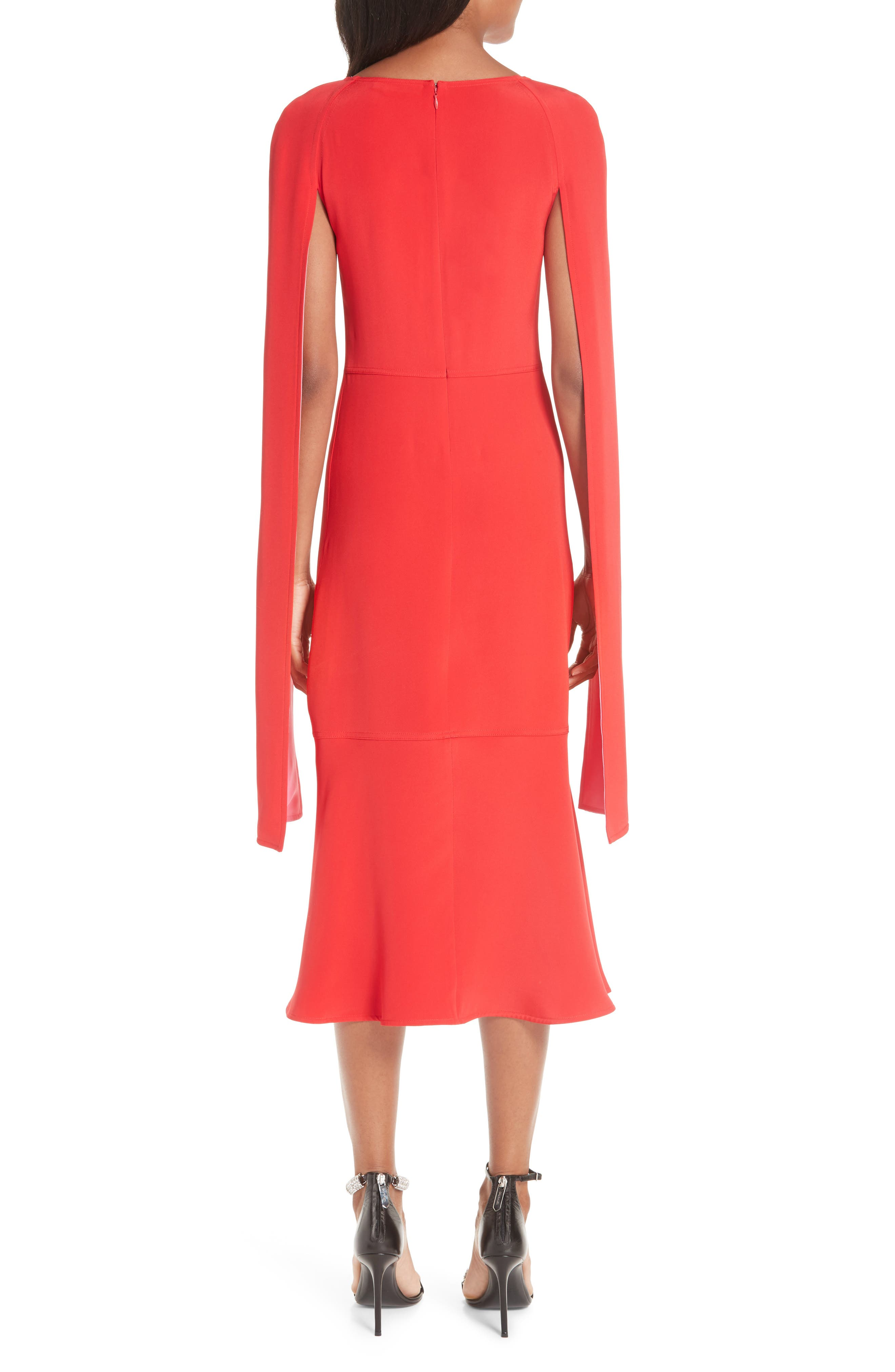 ,                             Cape Sleeve Silk Cady Midi Dress,                             Alternate thumbnail 2, color,                             RED CARNATION PINK