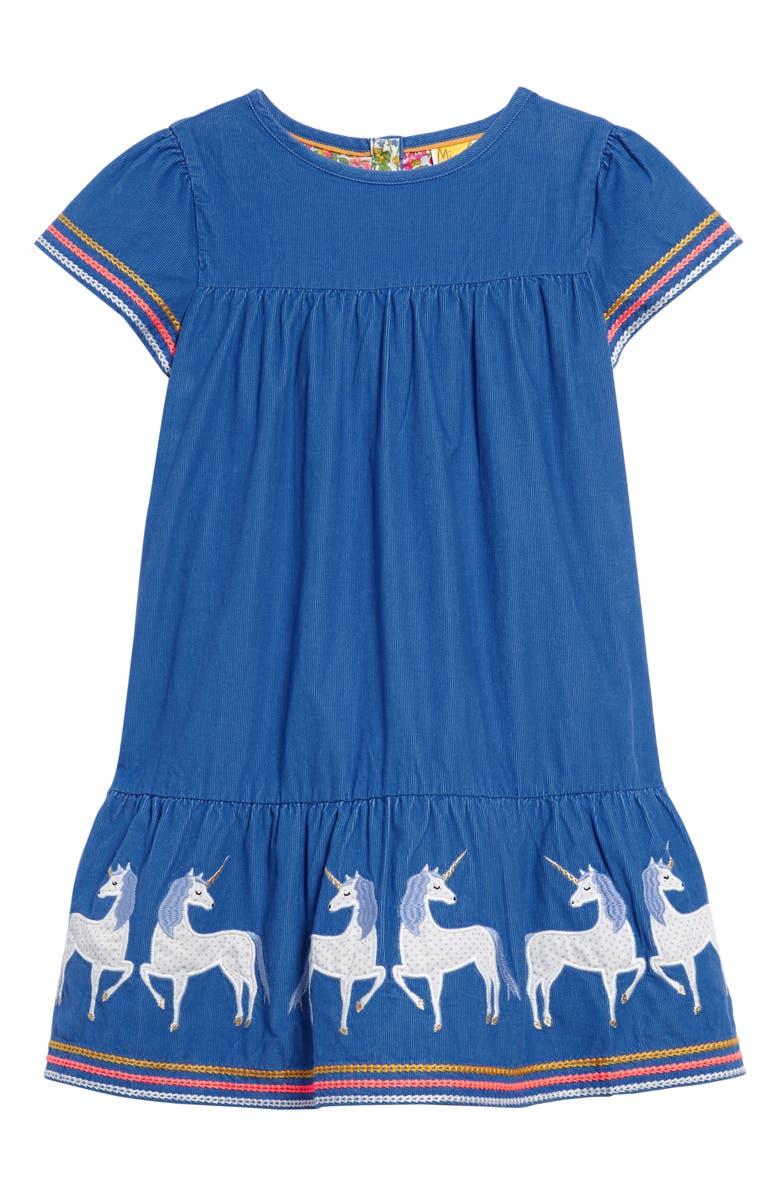 MINI BODEN Unicorn Appliqué Tiered Corduroy Dress, Main, color, ELIZABETHAN BLUE