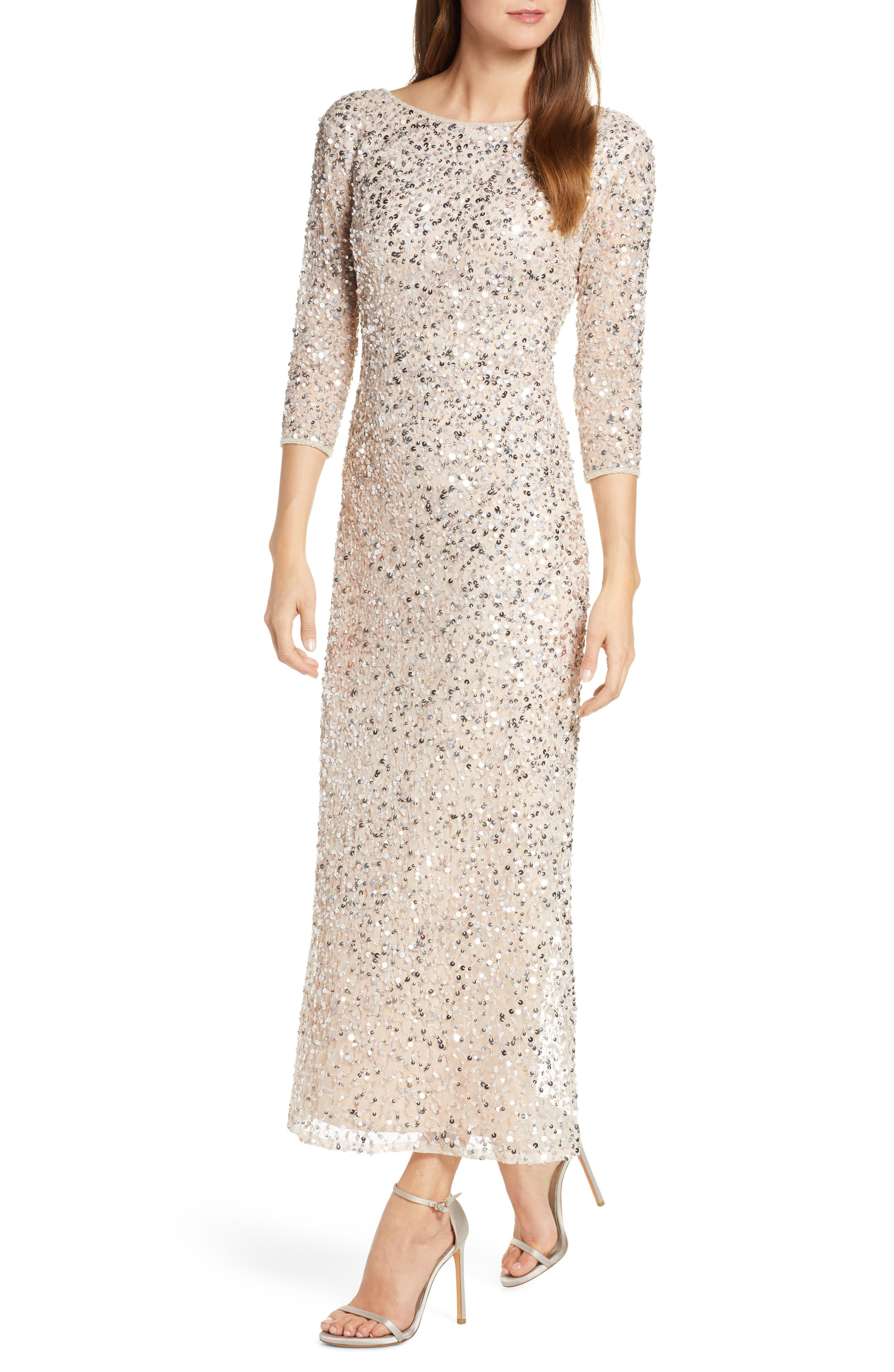 60s Wedding Dresses | 70s Wedding Dresses Womens Pisarro Nights Sequin Mesh Gown $248.00 AT vintagedancer.com